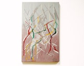 """SALE !!!! Small palette knife painting on wood. Oil in white, tan, red, green and yellow. 7.5""""x12.2"""" 'Entangled'"""