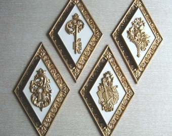 Set of Four Vintage 1960s Gold and White Syroco Wall Hangings