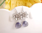 Purple Earrings with Flower - Bridesmaid Wedding Jewelry - Lotus and Purple Drops on Sterling Earwire - Freesia Purple Bridesmaid