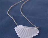 Crystal Quartz Necklace - Matte Crystal Quartz Fan on Gold Filled Necklace - Elegant, Tribal