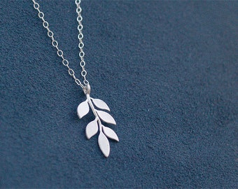 SPECIAL - Leaf Necklace - Little Sprout Necklace - Sterling Silver Chain - Sterling Jewelry, Silver Leaf Necklace, Seedling