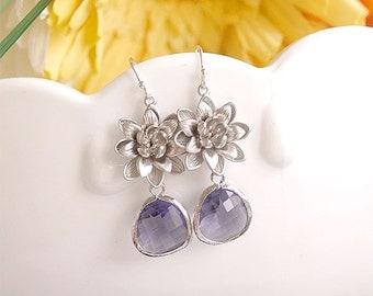 Purple Earrings with Flower - Bridesmaid Wedding Jewelry - Lotus and Purple Drops on Sterling Earwire - Freesia Purple Bridesmaid