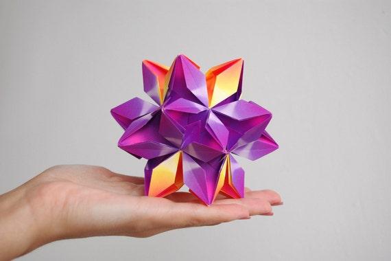 SALE 30% OFF! Christmas origami ornament - Sculpture - purple, orange - modern - paper art - Christmas Home decor