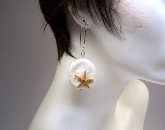 Sand Dollar Starfish Sterling Silver Dangle Drop Boho Beach Earrings