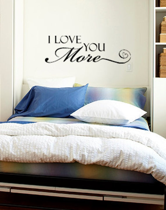 Love You More Wall Art items similar to i love you more vinyl wall art decal, 3 sizes on etsy