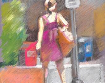 "Woman pastel figure, vibrant colorful street scene, fine art digital print of my original pastel, by Vernon Grant 8.5"" x 11"" Going Home"