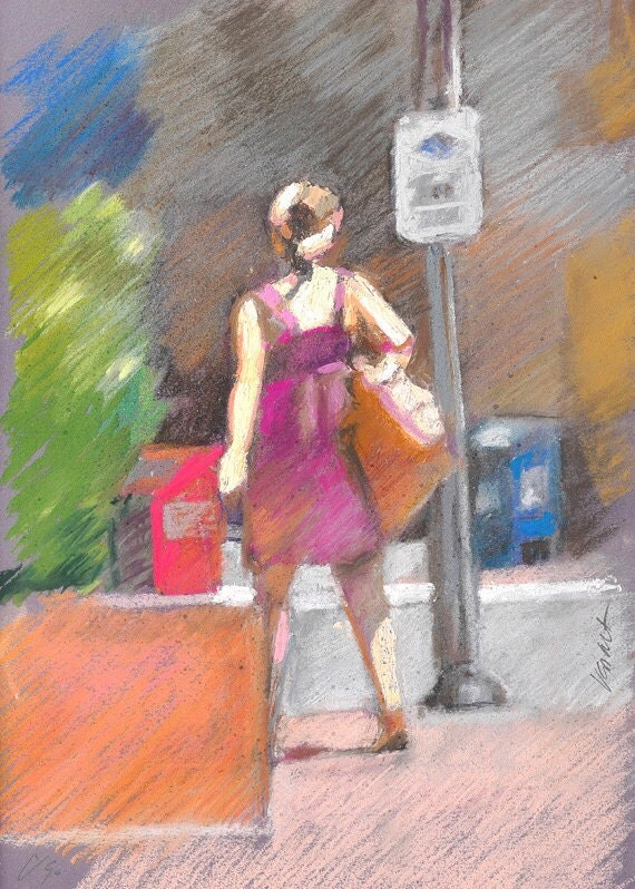 "Woman pastel figure, vibrant colorful street scene, fine art digital print of my original pastel, by Vernon Grant 8.5"" x 11"" Going Home"