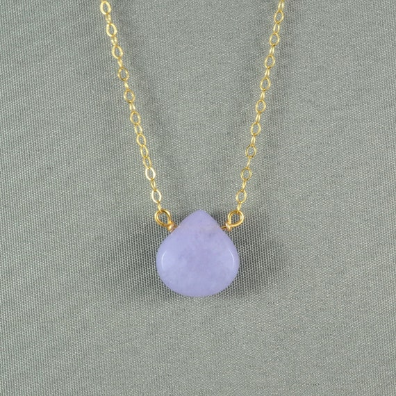 Beautiful Lavender Jade Heart Necklace, Jade Stone, 14K Gold Filled Chain, also in Sterling Silver