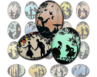 INSTANT DOWNLOAD, Digital Collage Sheet Ovals Vintage Art Deco and Victorian Romantic Silhouettes 30x40mm for pendants, cameos, brooches