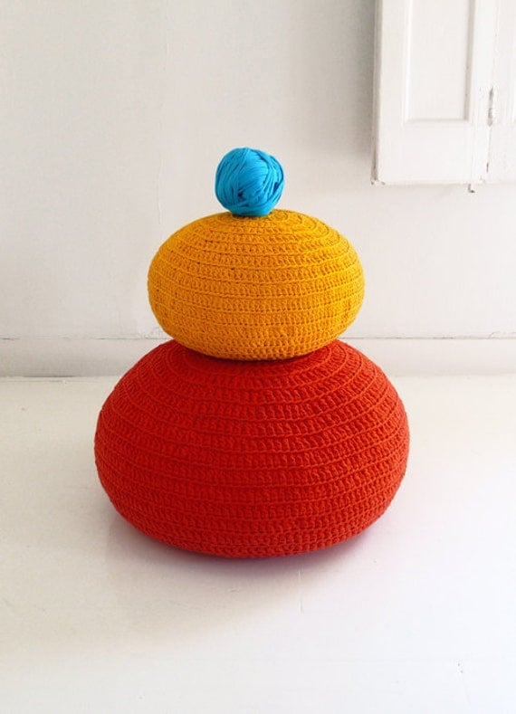 Pouf Crochet large - T Shirt Yarn - Orange