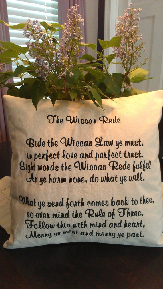 Wiccan Pagan Pillow The Wiccan Rede canvas pillow professionally embroidered choose your thread color