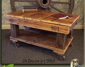 Factory Cart Coffee Table Antique Style Reclaimed Wood Industrial With Casters