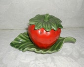 Ceramic Strawberry Honey or Jam Server and Leaf Plate Country Chic