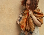 Felted scarf Nuno felt wrap Woman shawl Fall Autum colors Burned orange Brown Rust Pink Made to order