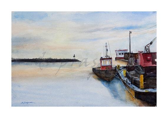 Frozen In - Lake Superior - Marquette Michigan - a Watercolor Limited Edition Fine Art Giclee Print