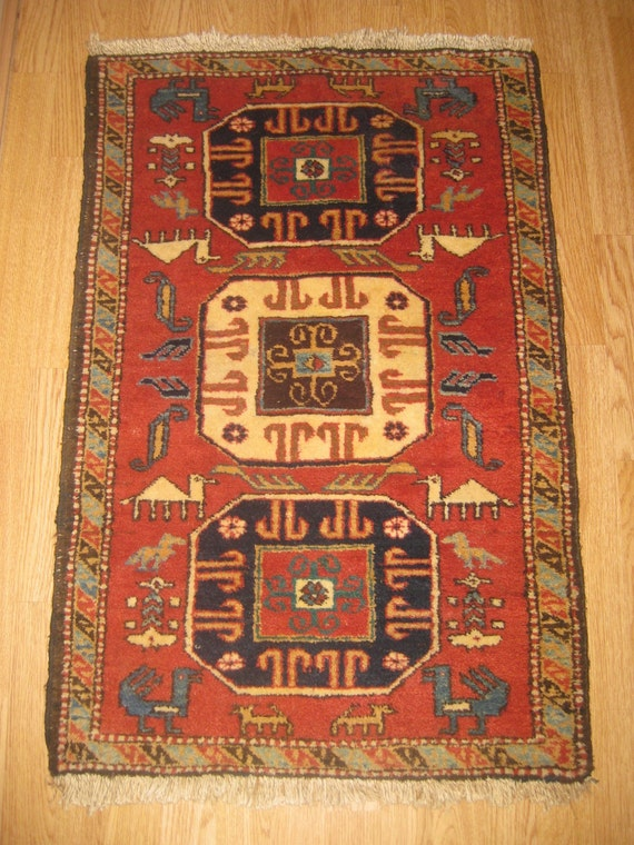 SALE Vintage Red Rug Semi Antique Cute Handwoven rug, Tribal Azerbaijan Rug, wool rug, rugs, animal rug, Tribal rug, bohemian decor,
