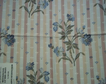 Vintage Rayon Cotton Fabric From Italy Payne Floral Stripe