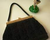 Luxurious Vintage Black Glass Beaded Evening PARTY BAG, Handbag Purse Clutch,1970's opera, theatre, party bag