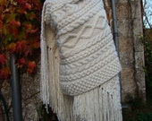 MORGANE - Long Celtic Cable Stole/Shawl or Afghan - Limited serie - Merino, alpaca & silk luxury blend - Free shipping