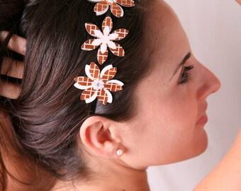 Bronze headband, Hair bands for women, Flower headband, Woman headband, Women hair accessory, Accessories for women, Brown headpiece Women