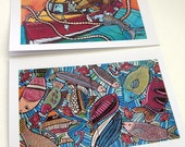 Fish Greeting Cards Set - Blank Art Cards Sea Fishing - Fish Birthday Cards -  Fish Stationery Set - Fish Blank Cards for Him