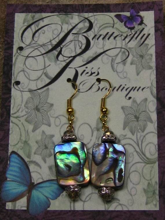 All About Abalone Earrings, Gold wires with 6mm sterling silver plated flowery crystal spacer beads