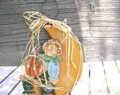 scarecrow pumpkin tole painted wall decor