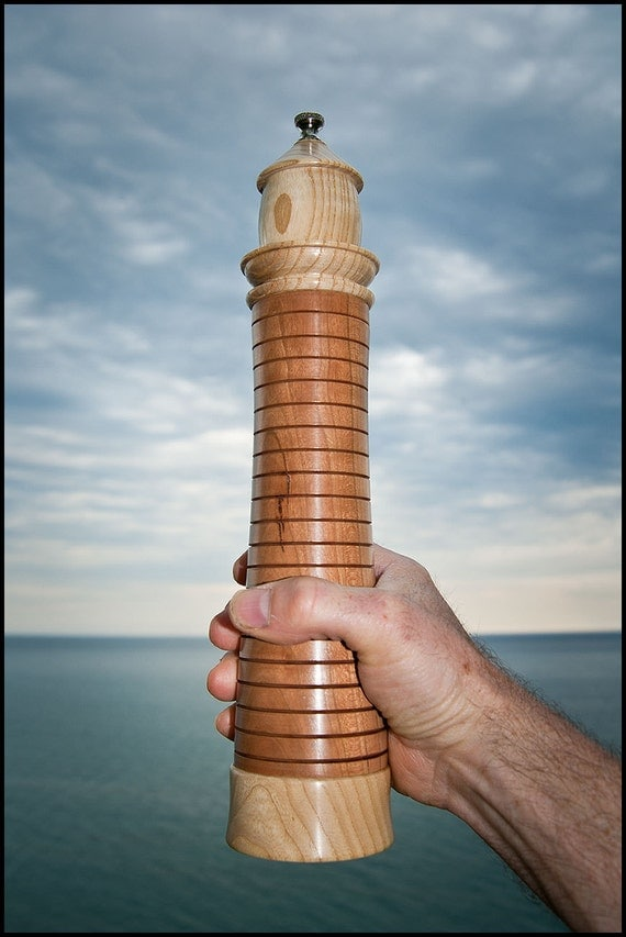 Lighthouse Pepper Mill in Cherry Hardwood with Ash Lantern & Base in Natural Finish
