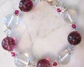 Magenta Swirl & Quartz and Swarovski Crystal Bracelet