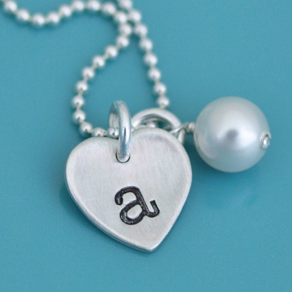 Sterling Silver Initial Charm Necklace, Tiny initial necklace, Heart with hand stamped initial, monogram small initial necklace charm silver