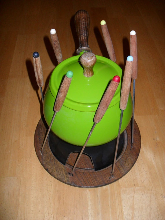 Lime Green Fondue Set, Fondue Pot Enamel Over Aluminum, Wood Base, 8 Forks Mid Century Modern Serving Ware Hostess
