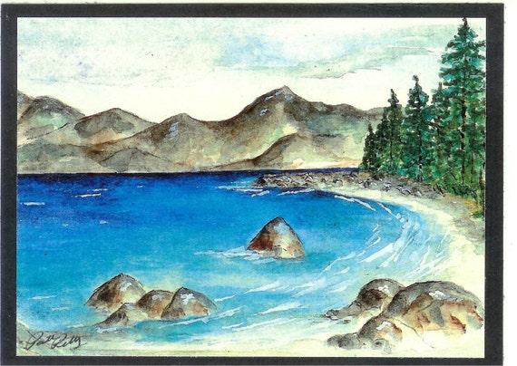 Lake Tahoe - Sugar Pine State Park Beach watercolor card (Item LS14)