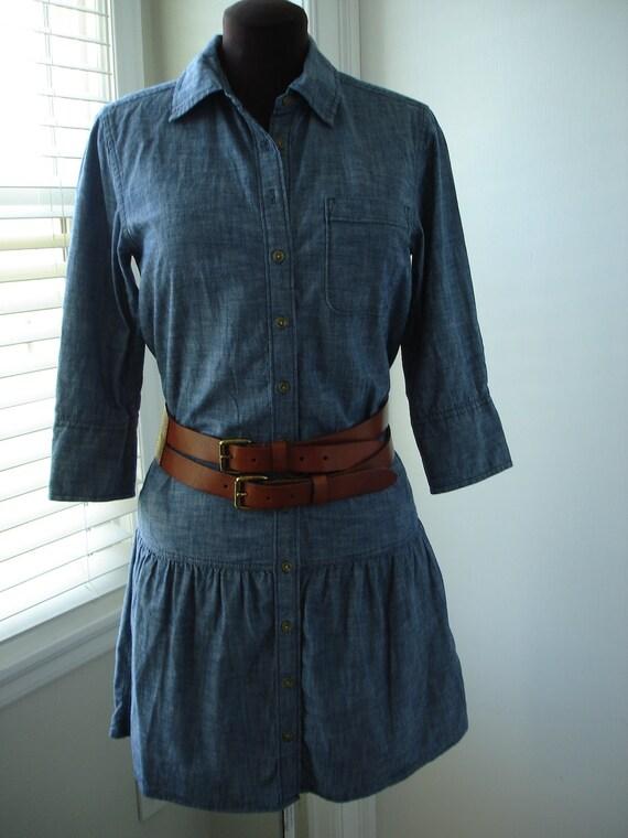 Lightweight Denim Drop Waist Shirt Dress