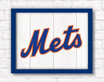 New York METS rustic handmade sign - NY Mets fan wood sign wall hanging - Boys room Sports Bar Man cave decor - Fathers Day gift for Dad