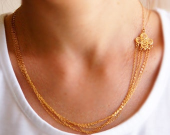 Asymmetric necklace, gold necklace, multi layered, filigree gold, delicate necklace, bridal necklace, wedding
