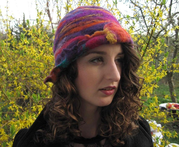 Clorful Hand Felted Cloche Hat Purple Violet Orange Stripe Pink Warm Winter Wool Silk Retro Harlequin