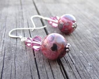 Pink Agate Crystal Bead Sterling Silver dangle Earrings Heart Love Handmade