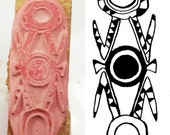 Design Stamp for Clay PMC Textiles and Scrap Booking - African Pendant Design