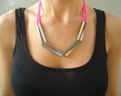 25% OFF SUMMER SALE! - Neon Necklace - Silver Brass Square Tube/ Pink Neon Cord
