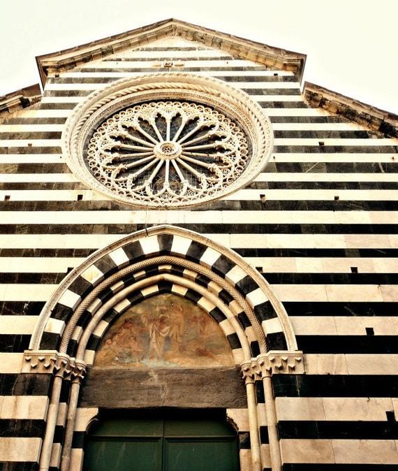 Cinque Terre, Italy - Fine Art Photo - Monterosso al Mare - Black and White Stripes - Church, Italian Architecture - Emerald Green, Travel