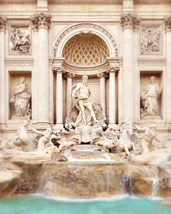 Trevi Fountain, Italy - 8x10 Fine Art Photography Print - Seafoam Green, White, Neutral - Sculpture, Masculine - Italian Architecture - Luck
