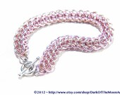 Champagne Gold and Pink Persian Weave Chain Maille Bracelet with Silver Heart Clasp