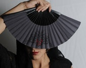 FOLDING FAN | Goth style hand fan | black with red rose tattoo design | goth wedding | goth bride | gift for her | Free Shipping Worldwide