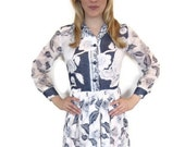 1960's Vintage Navy and White Long Dress with Long Sleeves, blue, floral