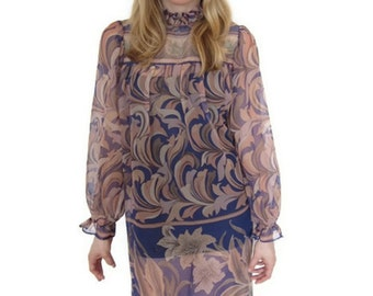 Vintage 1960's Purple Paisley Short Dress with Long Sleeves