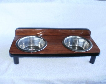 hand made , raised pet feeder, small dog or cat