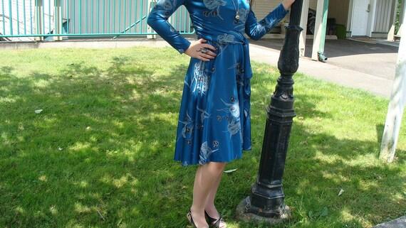 Vintage Blue Faux Wrap Dress