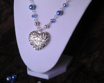 Iced Heart-  Big blue heart beaded necklace