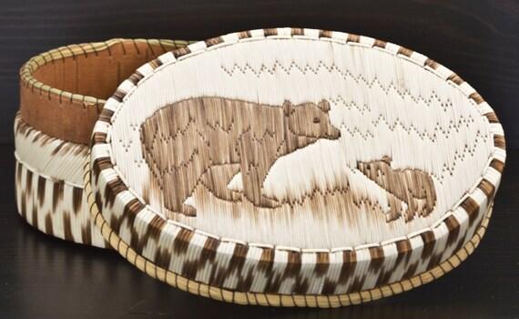 Native American Porcupine Quill Birch Bark Basket ON SALE!
