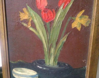 Antique oil paintings impressionist Impasto floral still life painting Tulips Daffodils botanical garden Summer cuttings 19th c. style art